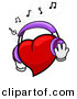 Vector Clipart of a Cartoon Heart Character Wearing Headphones While Listening to Music by BNP Design Studio
