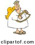 Vector Clipart of a Cartoon Male Angel Playing a Lyre by Djart