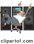 Vector Clipart of a Cartoon Man Dancing in a Chair While Listening to Music in Front of Big Speakers by Dennis Cox