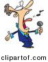 Vector Clipart of a Cartoon Man Singing Anthem by Ron Leishman