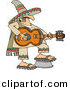 Vector Clipart of a Cartoon Mexican Guy Playing a Guitar by Djart