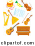 Vector Clipart of a Cartoon Musical Instruments - Digital Collage by Alex Bannykh