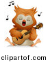 Vector Clipart of a Cartoon Owl Singing While Playing a Guitar by BNP Design Studio