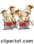 Vector Clipart of a Cartoon Quartet of Singing Men Dressed Alike by Ron Leishman