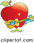Vector Clipart of a Cartoon Red Apple Strumming a Musical Guitar by Alexia Lougiaki
