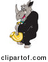 Vector Clipart of a Cartoon Rhino Playing a Saxophone by Dennis Holmes Designs