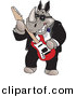 Vector Clipart of a Cartoon Rhino Playing an Electric Guitar by Dennis Holmes Designs
