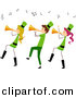 Vector Clipart of a Cartoon St. Patrick's Day Stick People Playing Trumpet Horns by BNP Design Studio