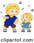 Vector Clipart of a Cartoon Toddler and Baby Boys Dancing with Music Notes by BNP Design Studio