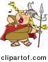 Vector Clipart of a Cartoon Viking Singing Loundly While Holding a Spear by Toonaday