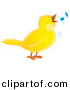 Vector Clipart of a Cartoon Yellow Whistling Bird by Alex Bannykh