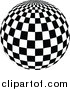 Vector Clipart of a Checkered Black and White Disco Ball by Dero