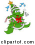 Vector Clipart of a Christmas Tree Character Ringing a Bell While Listening to Music by LaffToon