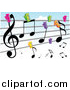 Vector Clipart of a Colorful Clips Holding Music Notes to a Clothes Line Against a Cloudy Sky by Mayawizard101