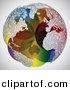Vector Clipart of a Colorful Globe with Continents Designed out of Music Notes by Andrei Marincas