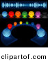 Vector Clipart of a Colorful Illuminated Audio Buttons - Digital Collage by Dero