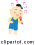 Vector Clipart of a Cute Asian Boy Singing into a Microphone by Cherie Reve
