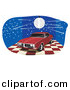 Vector Clipart of a Disco Ball over Red 1968 Pontiac Firebird with Dark Tinted Windows by David Rey