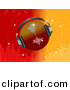 Vector Clipart of a Disco Ball Wearing Headphones over Bright Red and Orange Equalizer Background by Elaine Barker