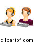Vector Clipart of a DJ Girl and Boy Avatars - Digital Collage by BNP Design Studio