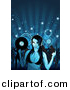 Vector Clipart of a Dj Girl Holding Record While Crowd of People Dance in Background by Dero