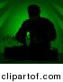 Vector Clipart of a DJ Guy Mixing Music with People Dancing in Green Background by Dero