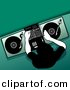 Vector Clipart of a DJ Mixing Record on Turntable While Adjusting Audio Settings - Green Background by Dero