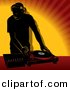 Vector Clipart of a DJ Using Single Record Player Mixer over Orange Background by Dero