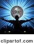 Vector Clipart of a Dj Wearing Headphones in Front of Silver Disco Ball over Bursting Blue Background by Elaine Barker