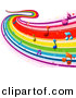 Vector Clipart of a Flowing Rainbow Wave of Music Notes by BNP Design Studio