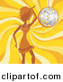 Vector Clipart of a Girl Dancing over Yellow Swirling Background with Sparkling Disco Ball by Amanda Kate