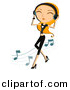 Vector Clipart of a Girl Dancing While Listening to Music Through Headphones - Cartoon Version by BNP Design Studio