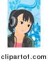 Vector Clipart of a Girl Listening to Music over Blue Floral by Mayawizard101