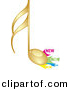 Vector Clipart of a Gold Music Note Beside New Label Icons by Andrei Marincas