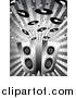 Vector Clipart of a Grayscale Background of Music Notes and Records Above Two Stereo Speakers on a Burst by KJ Pargeter