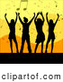 Vector Clipart of a Group of Silhouetted Men and Women Dancing over an Orange and Yellow Background of Music Notes by KJ Pargeter