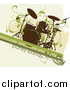 Vector Clipart of a Grungy Drum Set over a Beige Background with Green Lines and Vines by OnFocusMedia