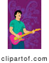 Vector Clipart of a Guitarist Man over Purple by Mayawizard101