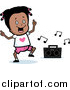 Vector Clipart of a Happy Black Girl Dancing to Music Box - Cartoon Style by Cory Thoman