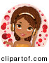 Vector Clipart of a Happy Black Girl Wearing Pink Headphones by Melisende Vector