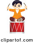 Vector Clipart of a Happy Boy Sitting on Large Musical Drum - Cartoon Styled Design by BNP Design Studio