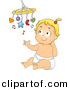 Vector Clipart of a Happy Cartoon Baby Girl Playing with Her Music Toy by BNP Design Studio
