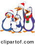 Vector Clipart of a Happy Cartoon Penguins Singing Christmas Carols by Yayayoyo