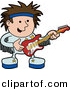 Vector Clipart of a Happy Cartoon Rock Star Boy Playing an Electric Guitar by AtStockIllustration