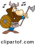 Vector Clipart of a Happy Cartoon Viking Singing with an Ax and Shield by Toonaday