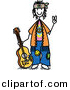 Vector Clipart of a Happy Hippie Stick Figure Guy with a Guitar and Gesturing Peace Sign wIth His Hand by Frog974