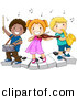 Vector Clipart of a Happy Kids Playing Instruments on a Keyboard - Cartoon School Version by BNP Design Studio