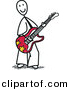 Vector Clipart of a Happy Stick Figure Guitarist Playing Tunes by Frog974