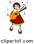 Vector Clipart of a Happy Stick Girl Playing a Guitar by BNP Design Studio