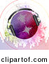 Vector Clipart of a Headphones on Disco Ball with Sound Signals over Grunge Equalizer Bars by Elaine Barker